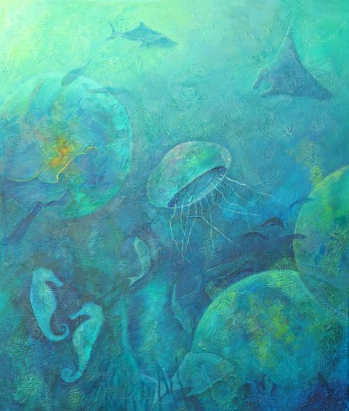 Blue Diver Abstract Painting