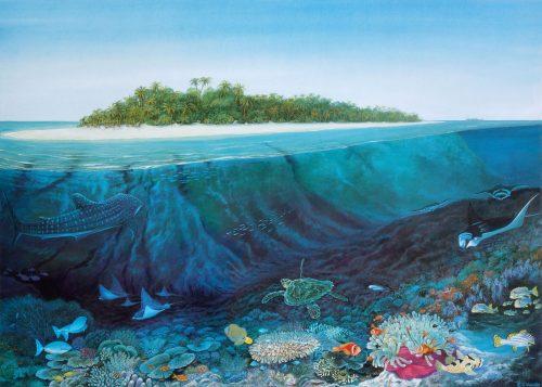 Underwater tropical sea life print