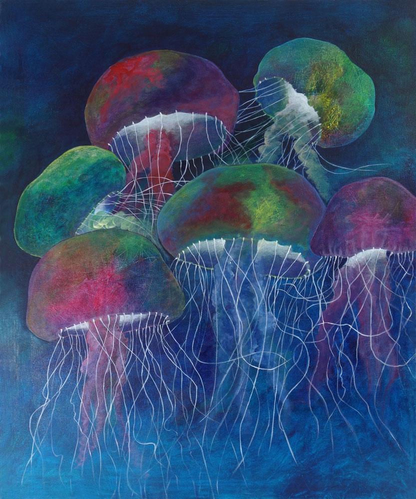 Jellyfish Dance Original Abstract Painting - Deep ...