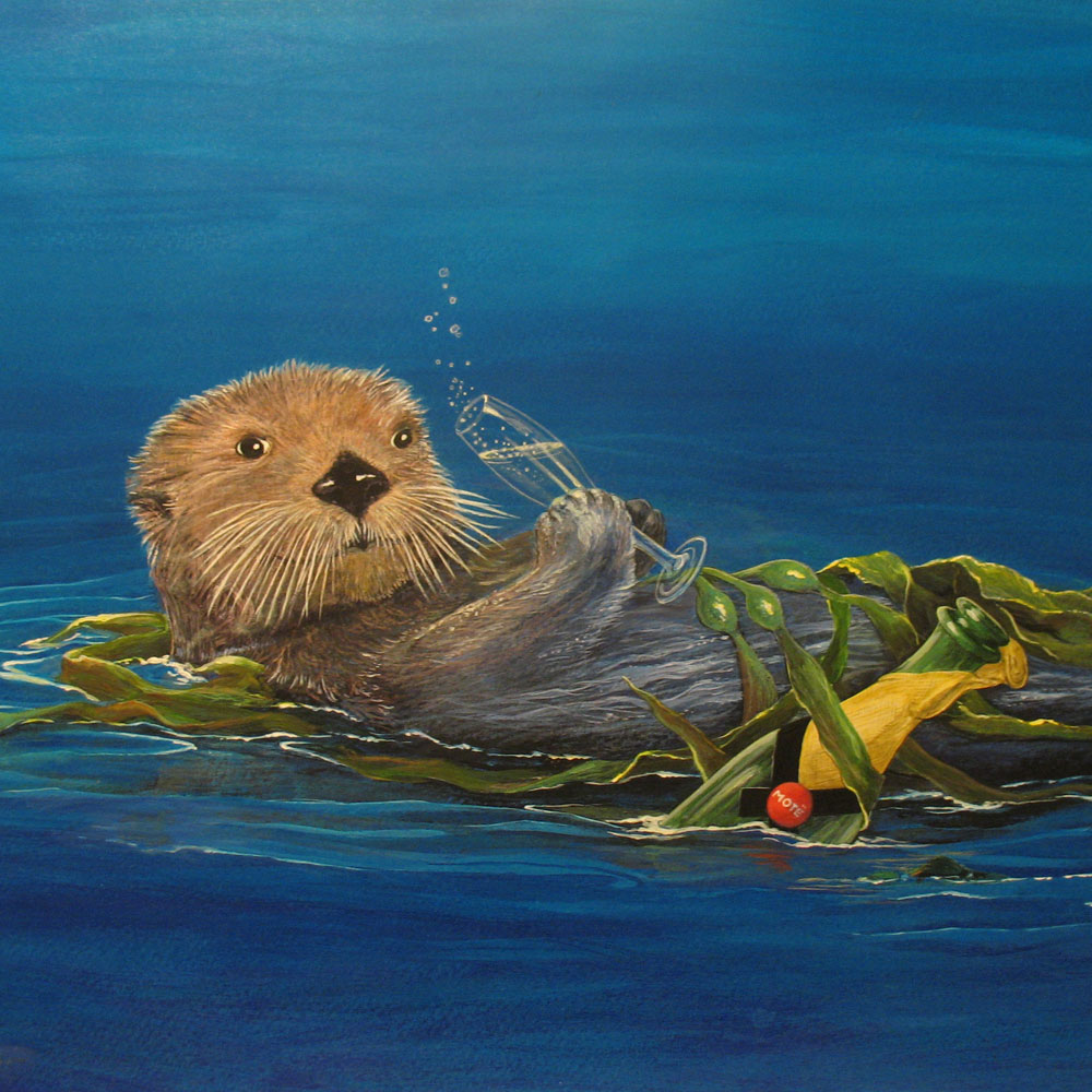 Champagne Sea Otter Art Card