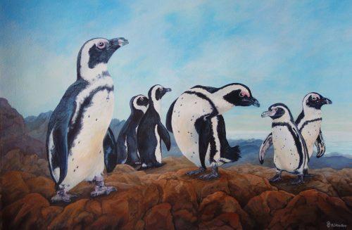 Penguins Original Painting