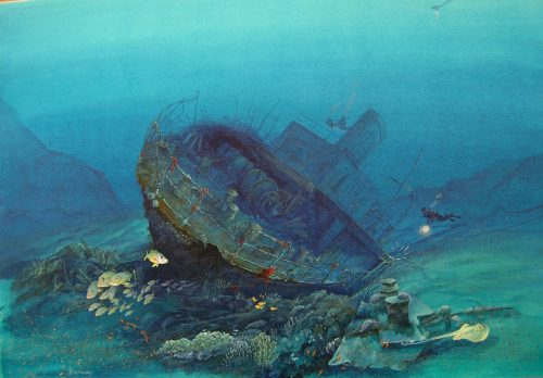red sea wreck original painting