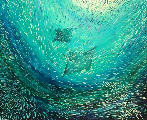 Mobula ray painting
