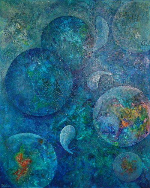 moon fish abstract painting