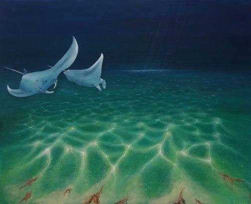 Manta ray original painting by Deep Impressions underwater art.