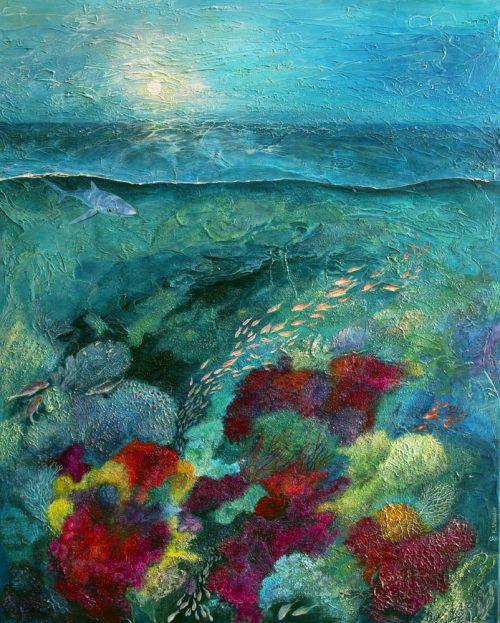 Shark reef abstract original painting.