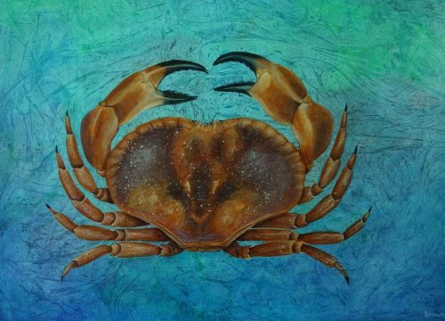 Crab painting with abstract background.