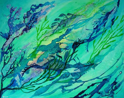 Sea dragons abstract original painting by Deep Impressions underwater art.