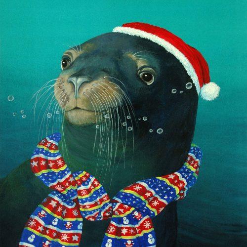 Seal christmas card