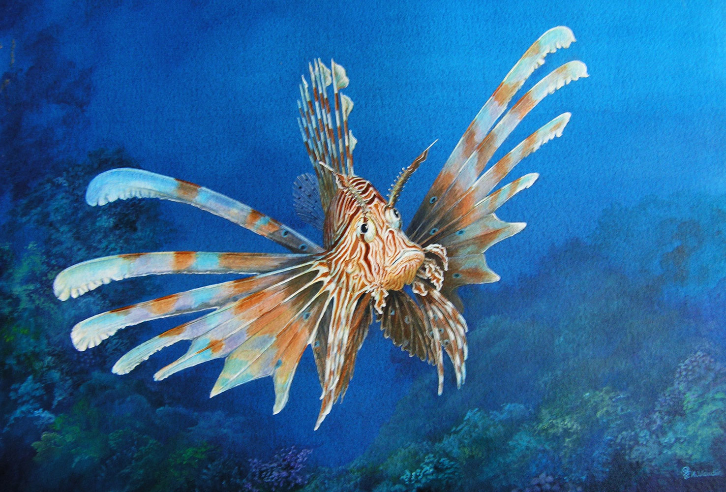 Lionfish Original Painting - Deep Impressions Underwater Art