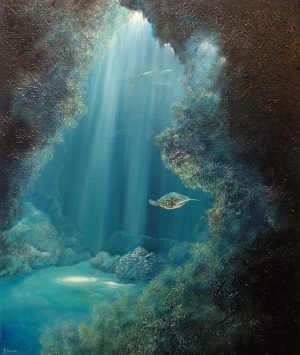 Underwater cavern painting.