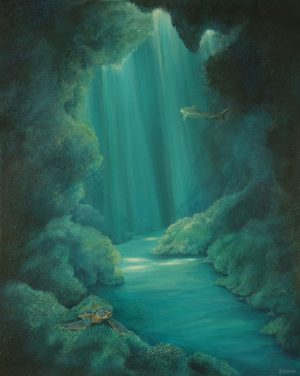 Underwater cave original painting.
