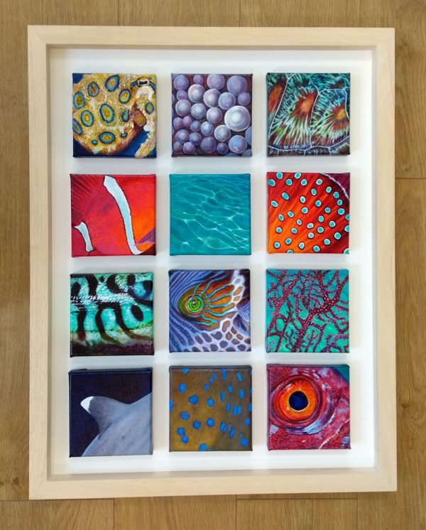 Abstract painting of marine life.
