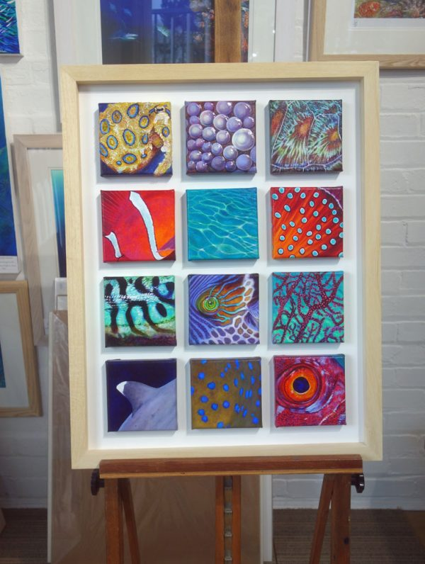 Abstract painting of sea creatures