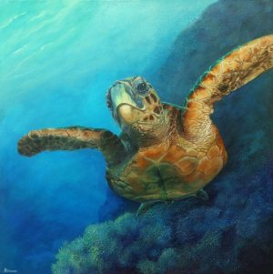 Turtle original painting on canvas.