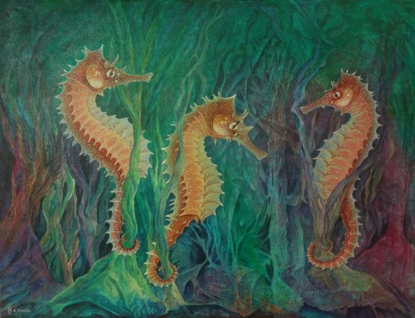 Seahorse abstract painting