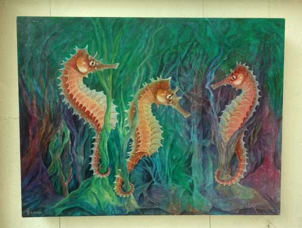 Seahorse abstract painting on a wall