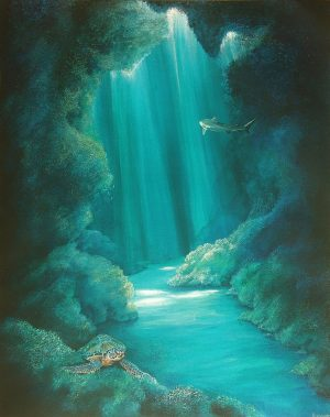 Underwater cave print on canvas