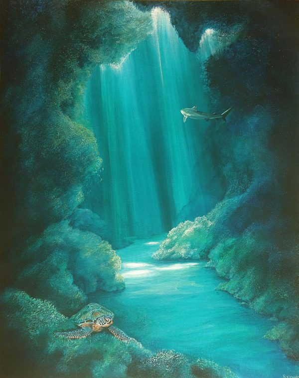 Underwater cave print on canvas