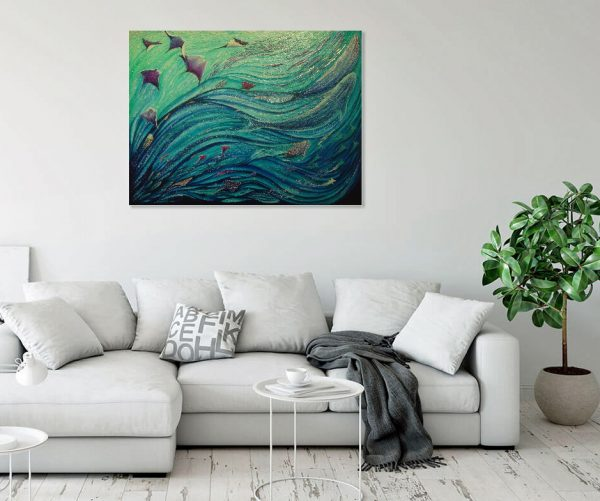 Sea wave abstract painting