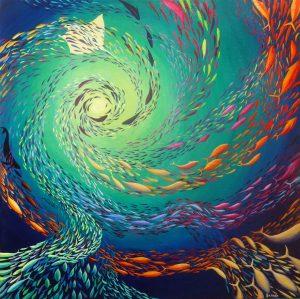 A thousand fish original painting.