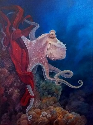 Common octopus painting on canvas