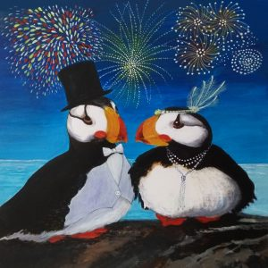 Puffin greetings card by Deep Impressions.