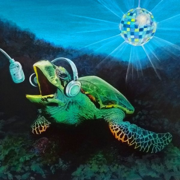Art card of a singing turtle by Deep Impressions.
