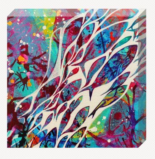 Abstract blue fish canvas mini.