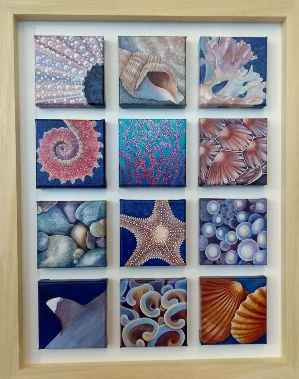 Marine square sea creature original painting by Deep Impressions