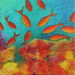 Red fish mini print canvas by Deep Impressions