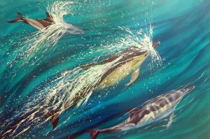 Common dolphins painting on canvas by Deep Impressions