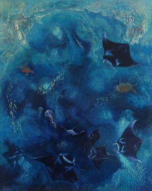 Mantas on coral reef painting