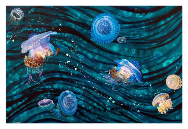 Jellyfish wave abstract art