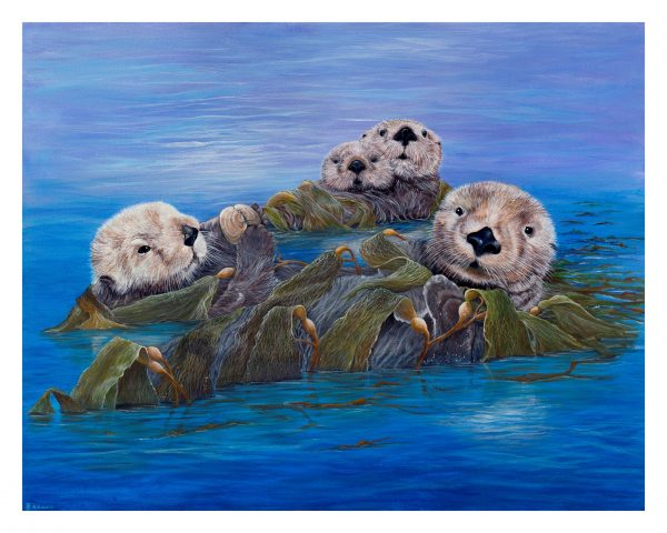 Sea otters canvas print