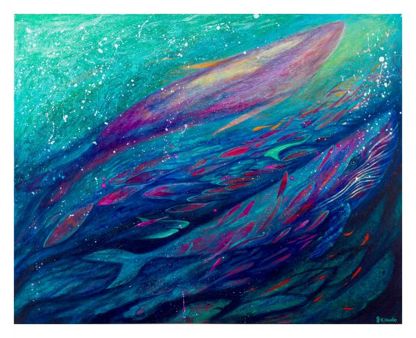 Whales abstract art