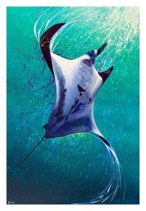 Manta ray artwork by Deep Impressions