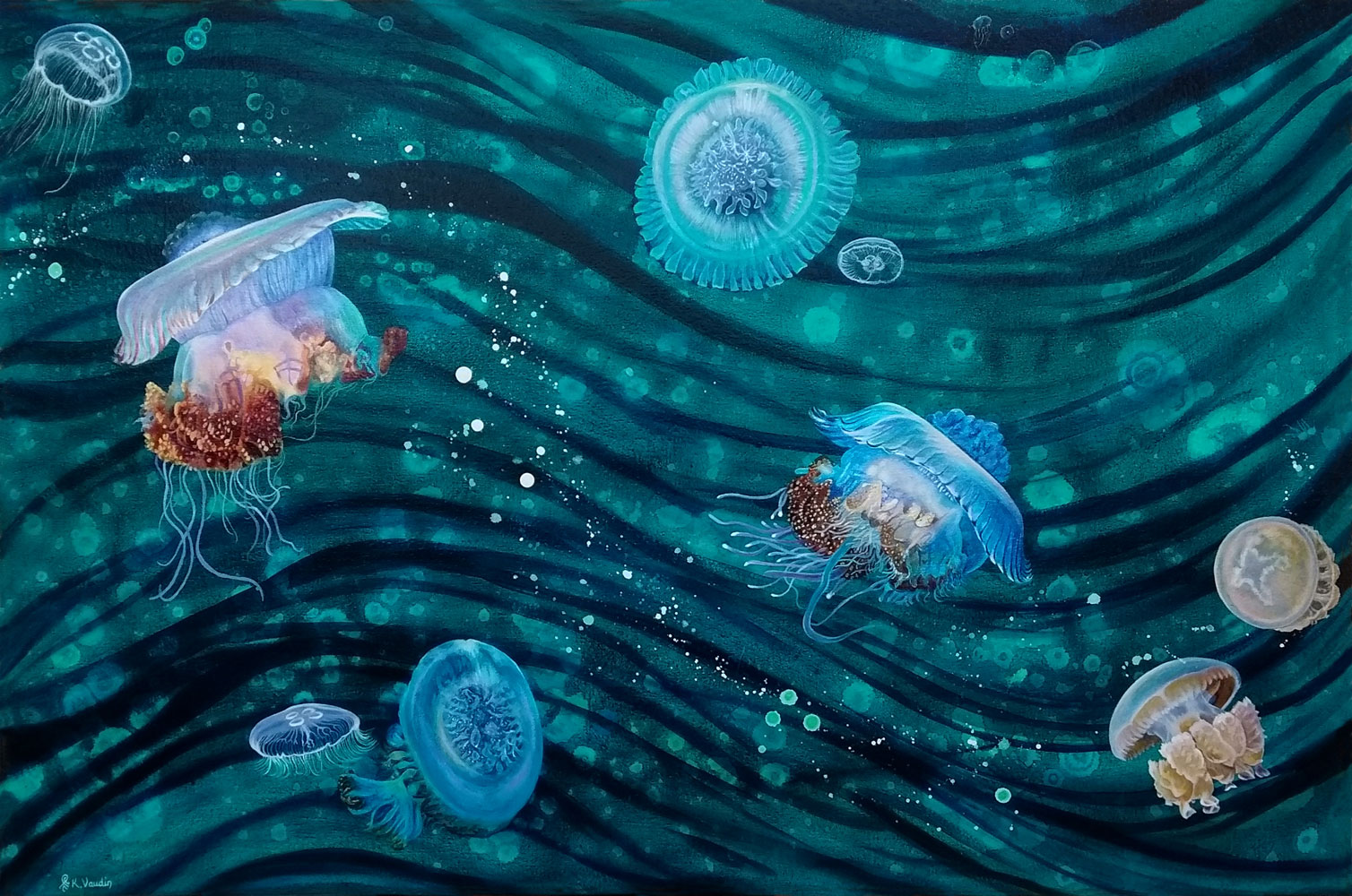 Jellyfish wave abstract painting.