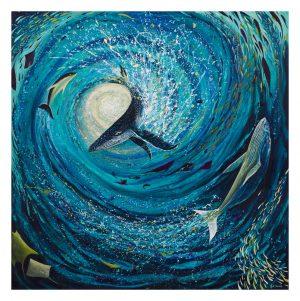 Whale sunswirl original painting